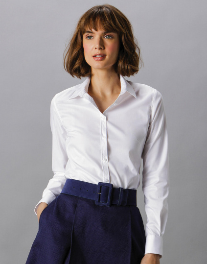 Women`s Tailored Fit Stretch Oxford Shirt LS - KK782